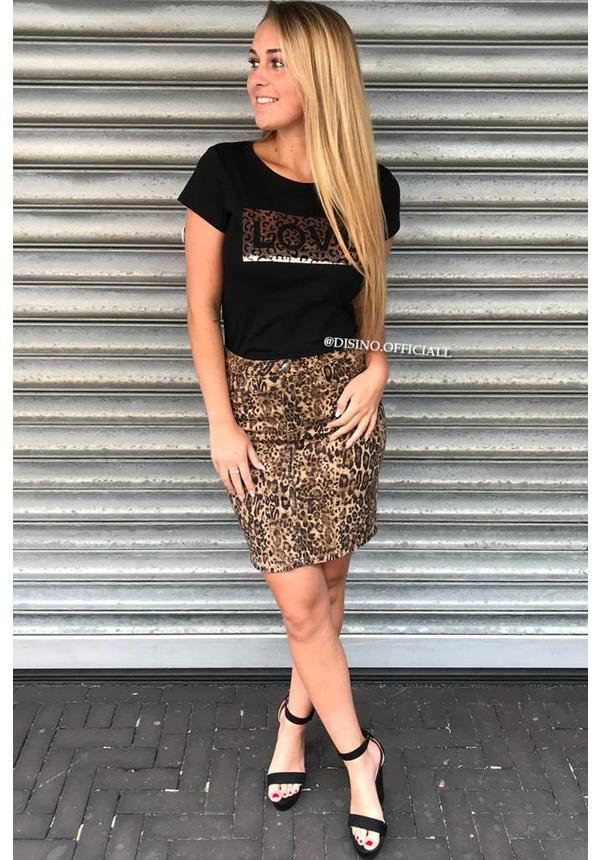 BLACK - LEOPARD APPLICATION BOXED LOVE - TEE