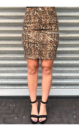 LEOPARD - SUPER STRETCH DENIM SKIRT