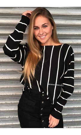BLACK - STRIPED OVERSIZED JUMPER