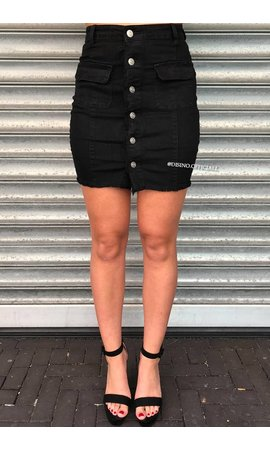 BLACK - DISTRESSED BUTTON DENIM SKIRT
