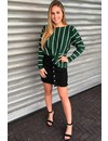 GREEN - STRIPED OVERSIZED JUMPER