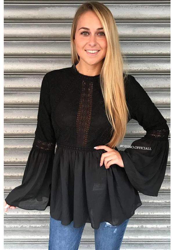 BLACK - 'AYLIN' LACE BLOUSE TOP