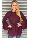 BURGUNDY - 'AYLIN' LACE BLOUSE TOP