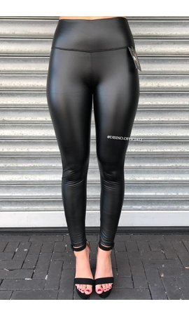 MAT BLACK - LEATHER LOOK LEGGINGS