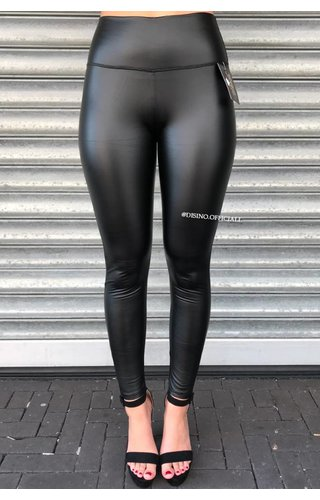 MAT BLACK - LEATHER LOOK LEGGINGS