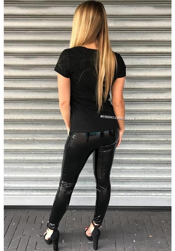 BLACK - HIGH WAIST LATEX LOOK LEGGINGS