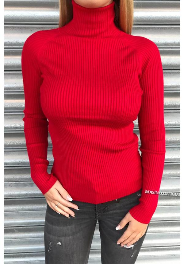 RED - 'DEBBIE' - BASIC RIBBED COL