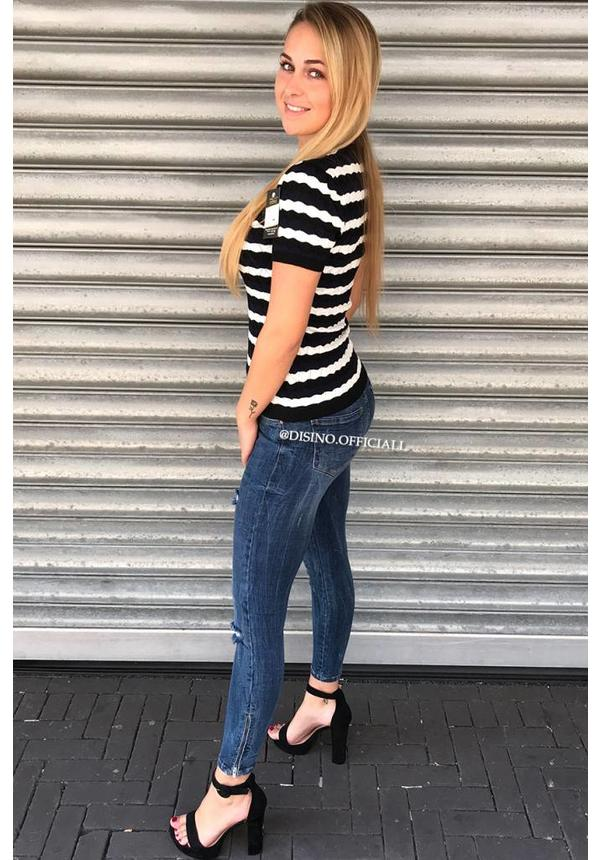 NAVY BLUE - 'ESMEE' - STRIPED SHORT SLEEVE SWEATER