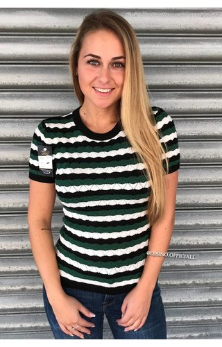 GREEN - 'ESMEE' - STRIPED SHORT SLEEVE SWEATER