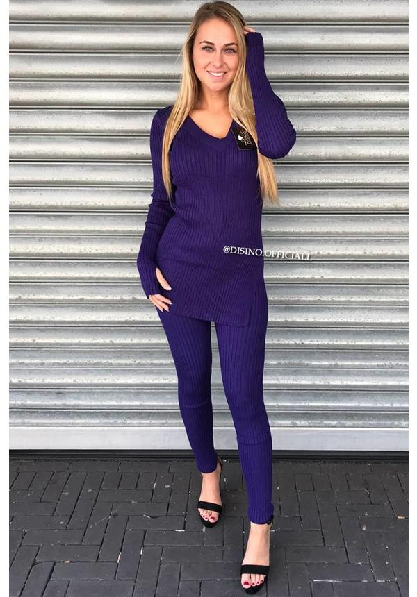 PURPLE - 'REINA' - PREMIUM QUALITY RIBBED TWIN SET
