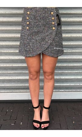 'PEGGY' - OVERLAY GLITTERLY TWEED SKIRT