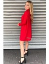 RED - 'EVY' - OVERSIZED COMFY COL SWEATER DRESS