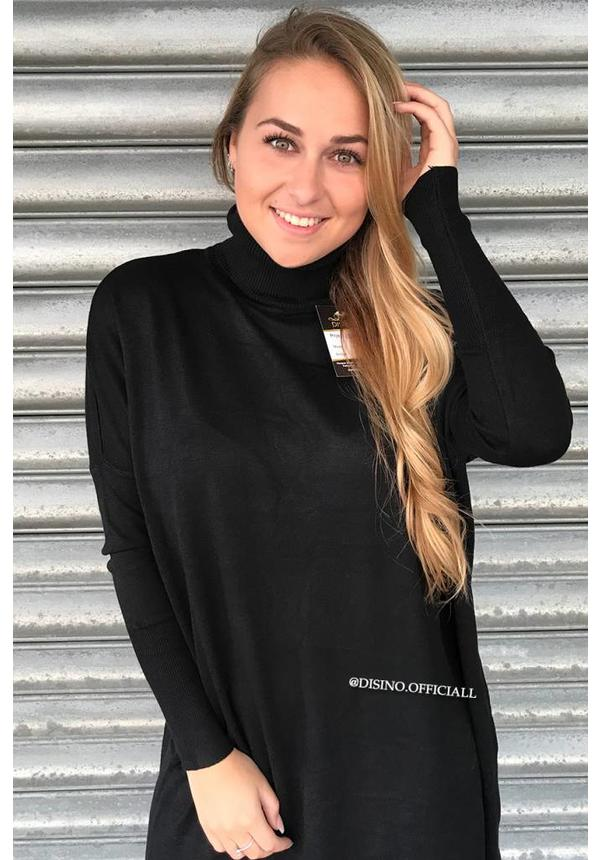 BLACK - 'EVY' - OVERSIZED COMFY COL SWEATER DRESS