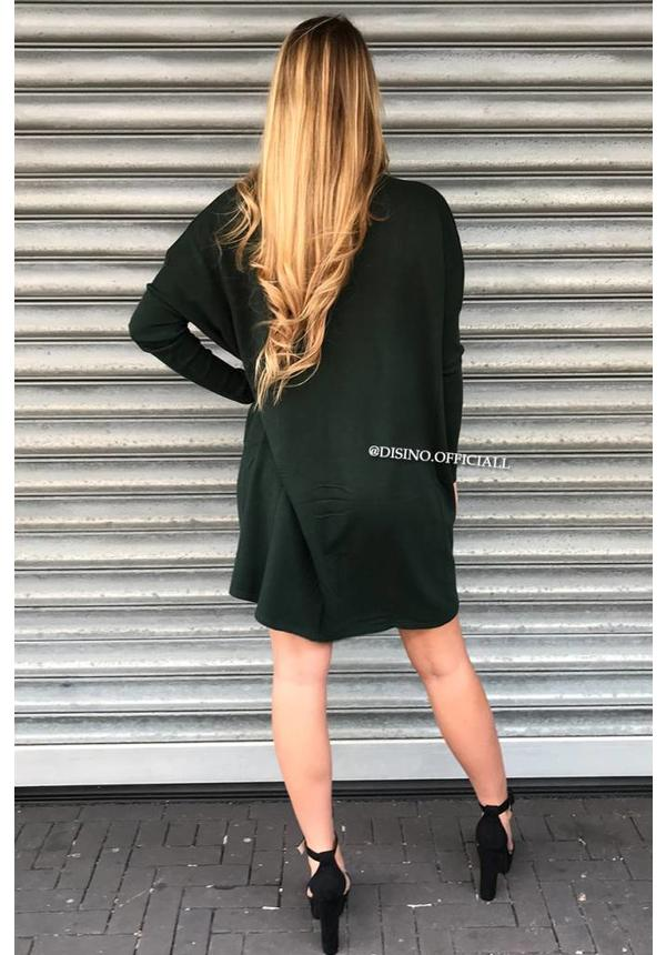 GREEN - 'EVY' - OVERSIZED COMFY COL SWEATER DRESS