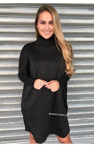 GLITTERLY BLACK - 'EVY' - OVERSIZED COMFY COL SWEATER DRESS