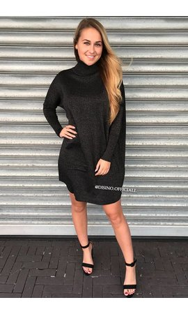 GLITTERLY BLACK - 'EVY' - OVERSIZED COMFY COL SWEATER DRESS