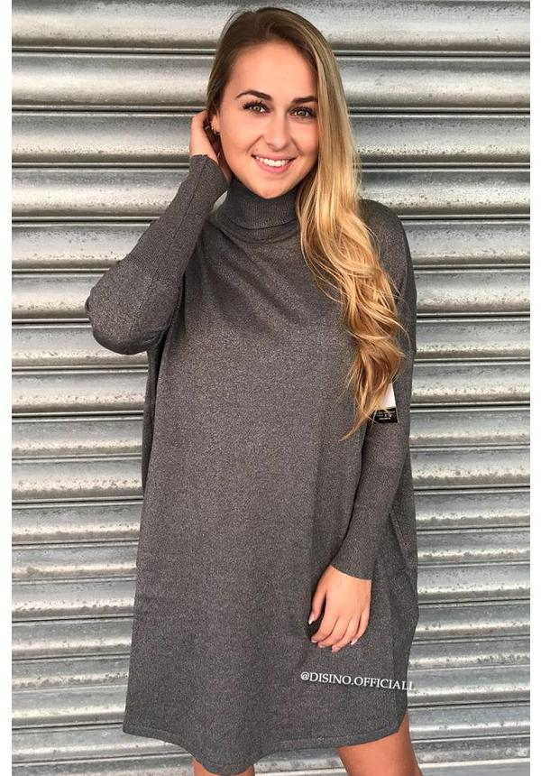 GLITTERLY GREY - 'EVY' - OVERSIZED COMFY COL SWEATER DRESS