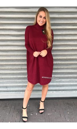 BURGUNDY - 'EVY' - OVERSIZED COMFY COL SWEATER DRESS