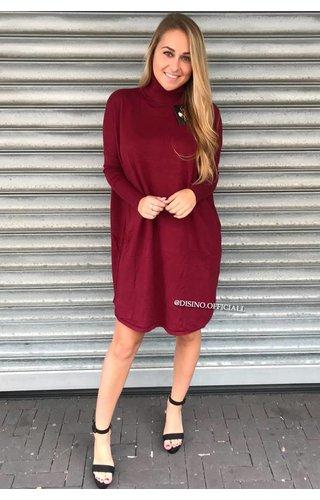 BURGUNDY - 'EVY' - OVERSIZED COMFY COL SWEATER DRESS