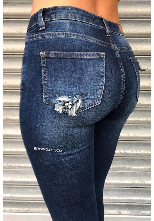QUEEN HEARTS JEANS - DARK BLUE - SKINNY RIPPED KNEE DETAIL - 9289