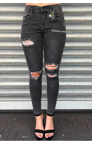 QUEEN HEARTS JEANS - DARK GREY - RIPPED SKINNY DISTRESSED - 9526