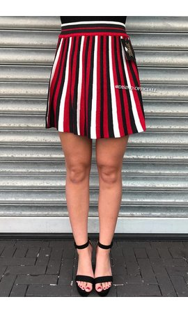 RED - 'KEISHA' - GLITTERLY STRIPED SKIRT