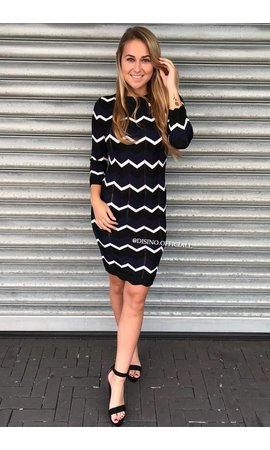 NAVY - 'ESTELLE' - PREMIUM INSPIRED STRIPED DRESS