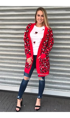 RED - 'KENZIE' - LEOPARD KNITTED VEST
