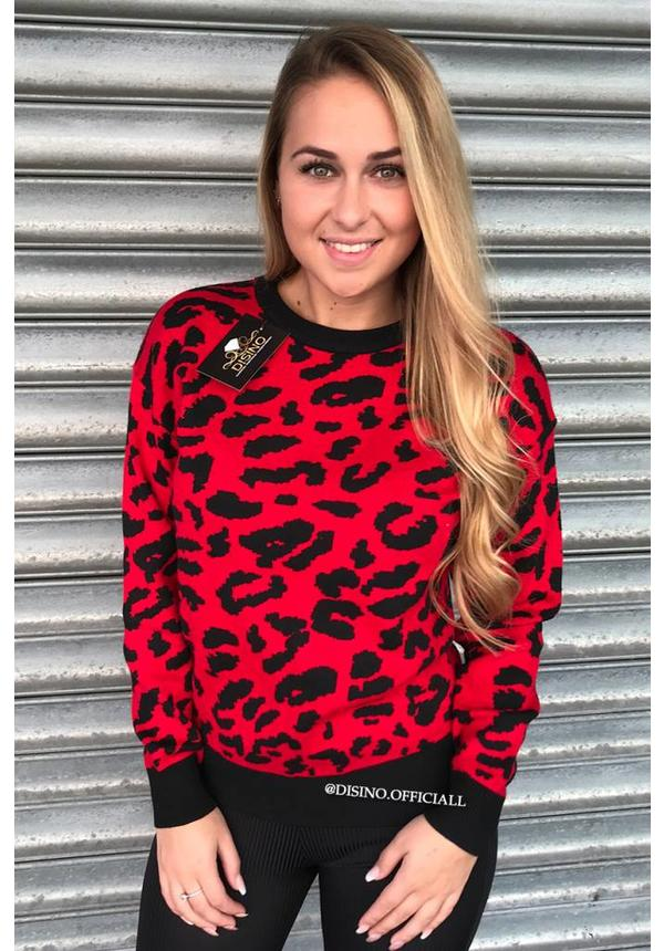 RED - 'LOUISE' - LEOPARD KNITTED SWEATER