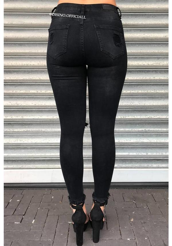 QUEEN HEARTS JEANS - BLACK - SKINNY RIPPED RIPS DETAIL - 9205