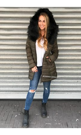 KHAKI GREEN - BLACK FAUX FUR HOOD WINTER PARKA
