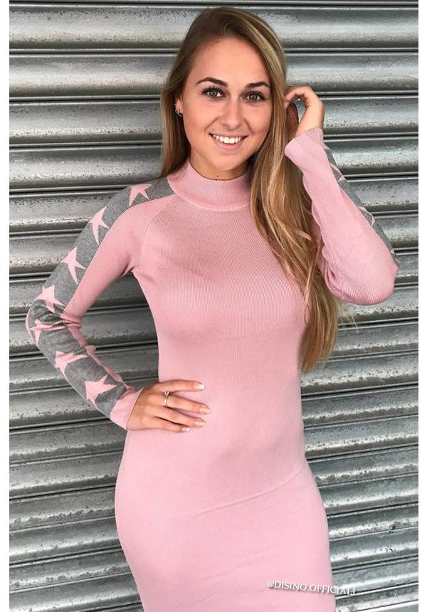 DUSTY PINK - 'ALL THE STARS' LONG SLEEVE DRESS