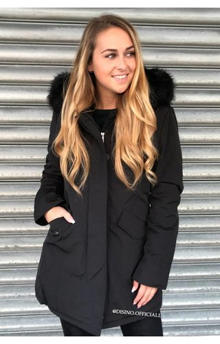 BLACK - FUR SLEEVED FORCE WINTER COAT