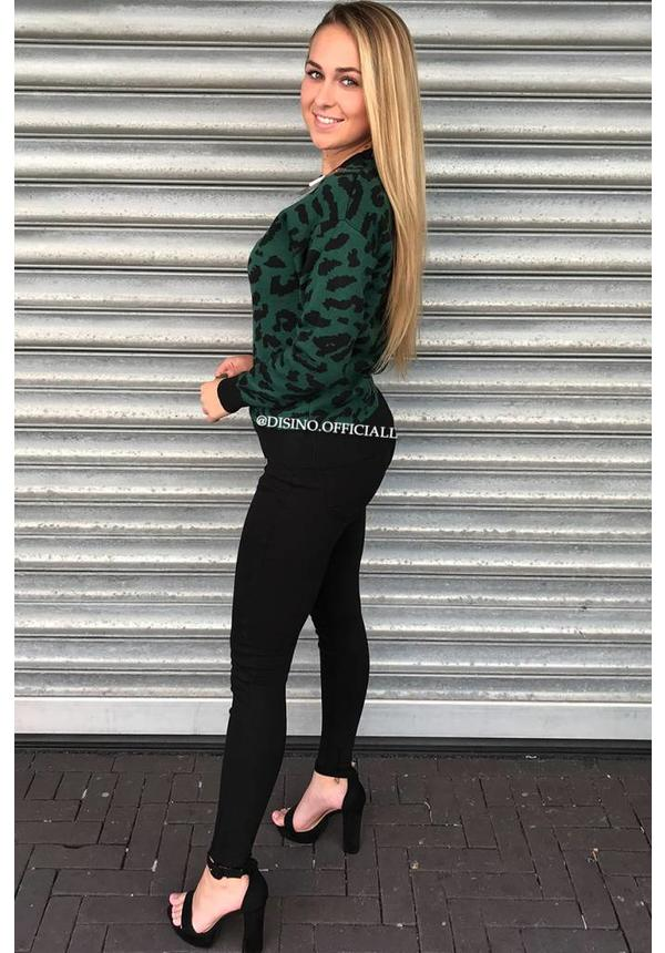 GREEN - 'LOUISE' - LEOPARD KNITTED SWEATER