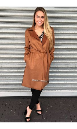 CAMEL - 'SASKIA' - SUEDE FALL COAT