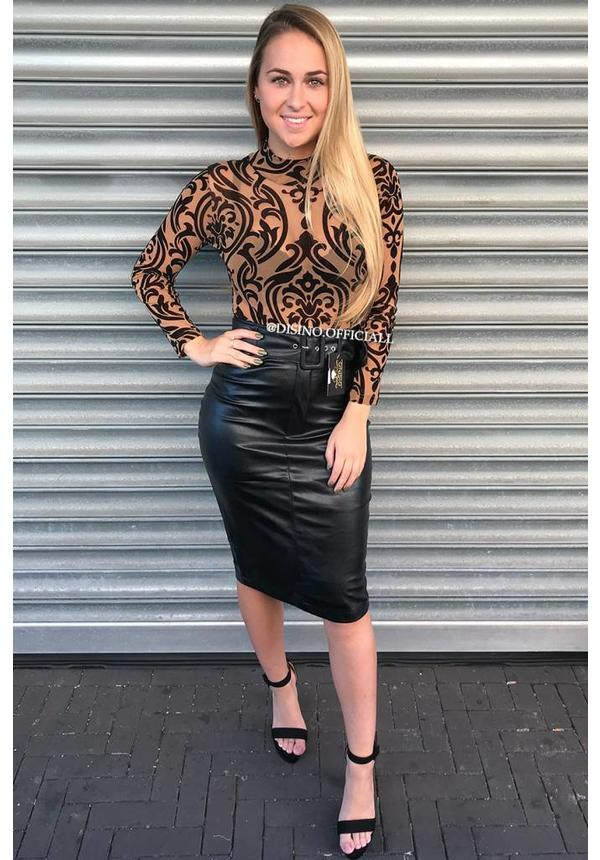 BLACK - 'REBECCA' - LEATHER LOOK BELTED MIDI SKIRT