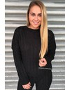 BLACK - 'CAMILA' - ROUND NECK CABLE KNIT LOUNGE SET