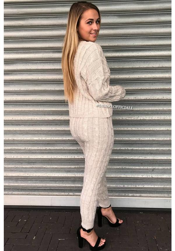 BEIGE - 'CAMILA' - ROUND NECK CABLE KNIT LOUNGE SET