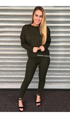 OLIVE GREEN - 'CAMILA' - ROUND NECK CABLE KNIT LOUNGE SET