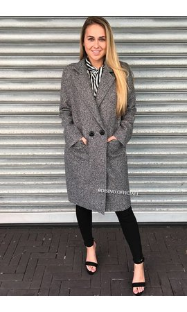 GREY - 'KOURTNEY' - DOUBLE BUTTON TEDDY COAT