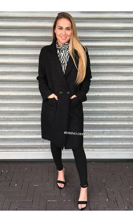 BLACK - 'KOURTNEY' - DOUBLE BUTTON TEDDY COAT