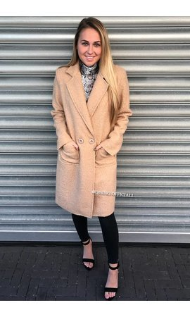 BEIGE - 'KOURTNEY' - DOUBLE BUTTON TEDDY COAT