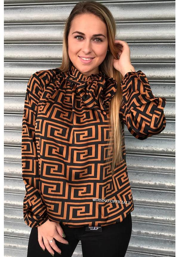 BROWN - 'FENDITO' - INSPIRED PRINT SATIN KNOT BLOUSE