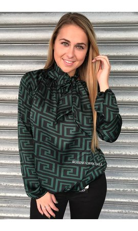 DARK GREEN - 'FENDITO' - INSPIRED PRINT SATIN KNOT BLOUSE