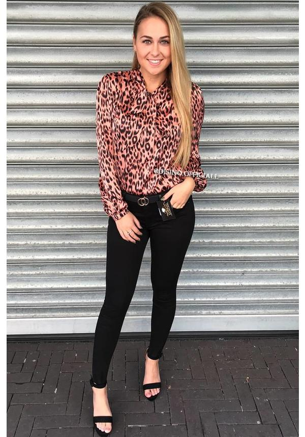 DUSTY PINK - 'PHOEBE' - SATIN KNOTTED LEOPARD PRINT BLOUSE