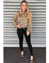 BEIGE - 'PHOEBE' - SATIN KNOTTED LEOPARD PRINT BLOUSE