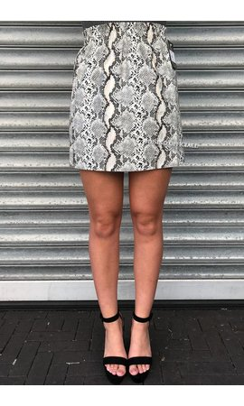 WHITE - SHINY SNAKE PAPER BAG SKIRT