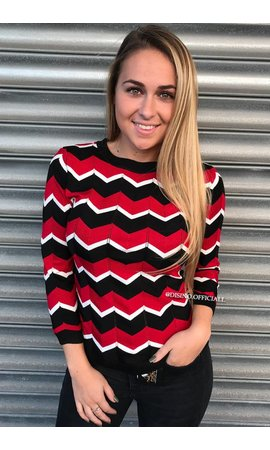 RED - 'ESTELLE' - PREMIUM INSPIRED STRIPED TOP