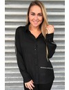 BLACK - 'ROBIN' - GLITTERLY STRIPED BLOUSE