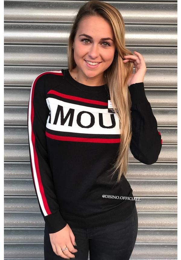 BLACK/RED - AMOUR STRIPED SWEATER